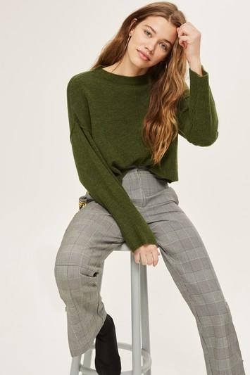 Topshop Tall Ribbed Crop Sweater