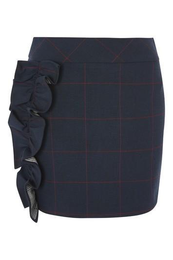 Topshop Check Frill Detail Skirt