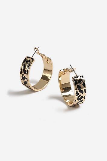 Topshop Leopard Enamel Hoop Earrings
