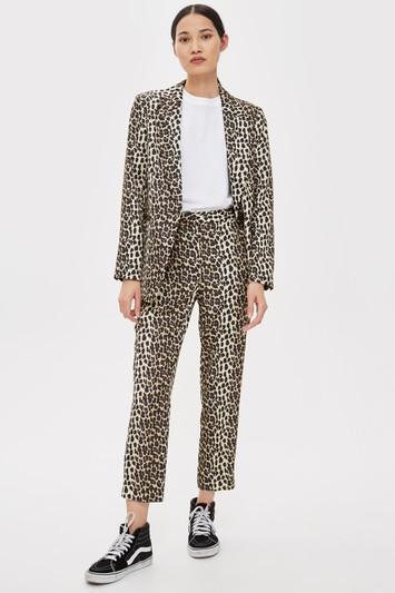 Topshop Brown Leopard Suit Trousers