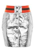 Topshop Sport Metallic Leather Mini Skirt