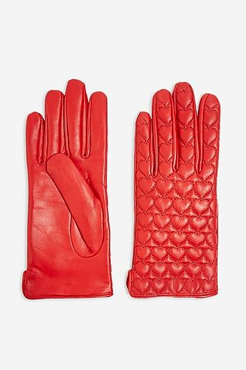 Topshop Heart Quilted Touchscreen Gloves