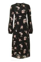 Topshop *long Sleeve Floral Midi Dress By Nobody's Child