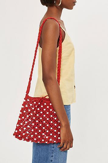 Topshop Petra Beaded Shoulder Bag