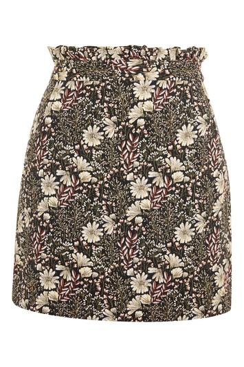 Topshop Tapestry High Waisted Frill Mini Skirt