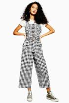 Topshop Gingham Pinafore Jumpsuit