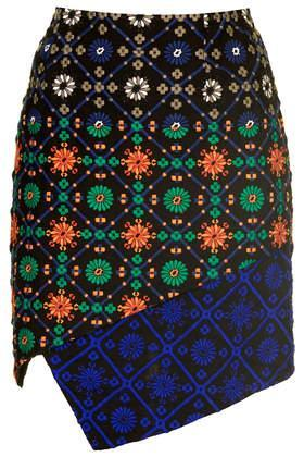 Topshop **limited Edition Tile Embroidered Wrap Skirt