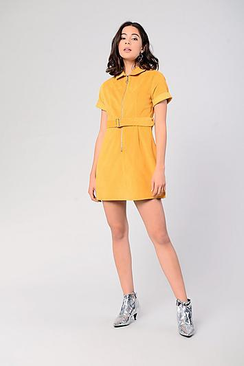 Topshop *belted Corduroy Dress By Glamorous
