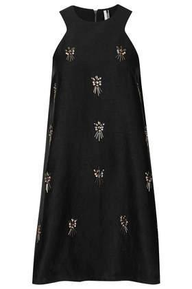 Topshop Embellished A Line Dress