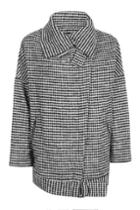 Topshop '80s Funnel Neck Houndstooth Coat