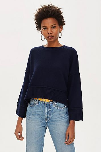 Topshop Petite Striped Popper Jumper