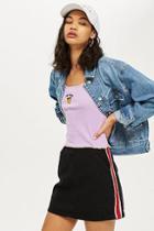 Topshop Petite Side Striped Denim Skirt