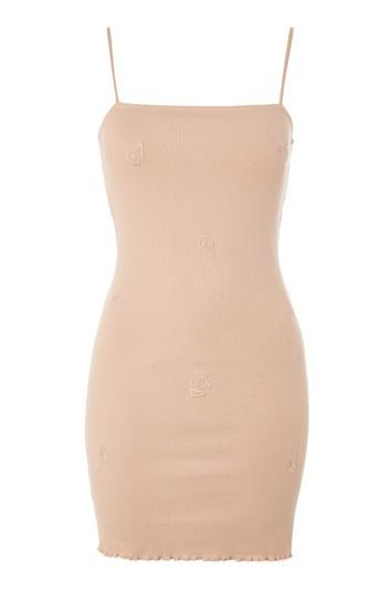 Topshop Embroidered Strap Bodycon Dress