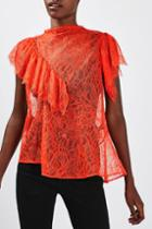 Topshop Lace '80s Ruffle Top By Boutique