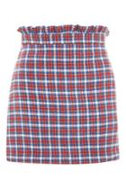 Topshop Check Frill Waist Mini Skirt