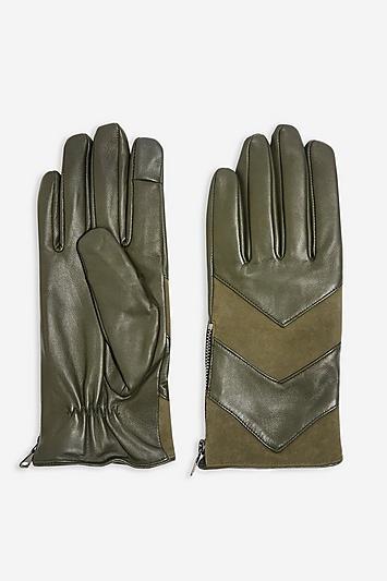 Topshop Chevron Leather Touchscreen Gloves