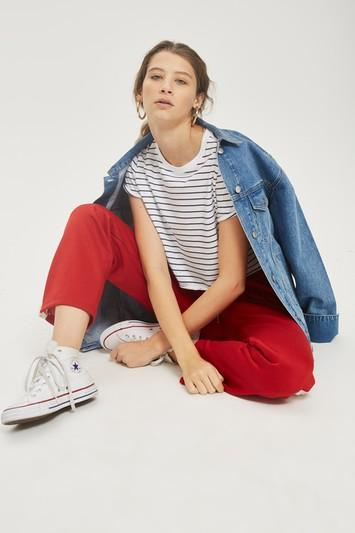 Topshop Striped Cropped T-shirt