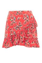 Topshop Red Flower Frill Skirt