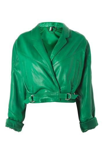 Topshop Cropped Retro Style Leather Biker Jacket