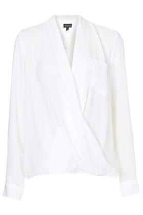 Topshop Drape Front Pocket Blouse