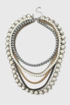 Topshop Pearl And Chain Multirow Necklace