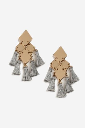 Topshop Grey Mini Tassle Drop Earrings