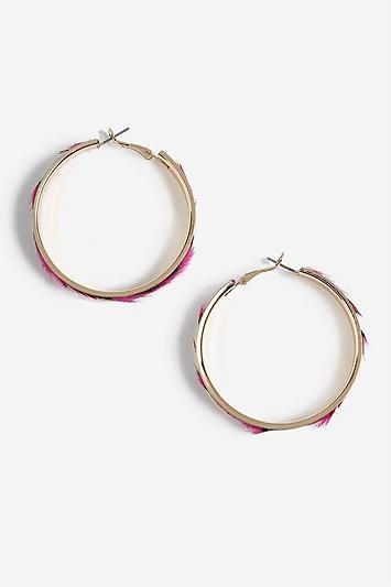 Topshop Fur Hoop Earrings