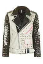 Topshop Studded Biker Leather Jacket