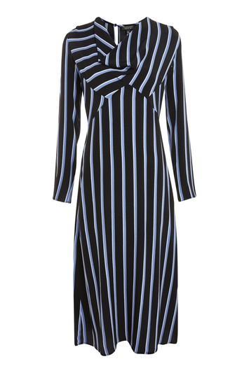 Topshop Striped Bias Midi Skater Dress