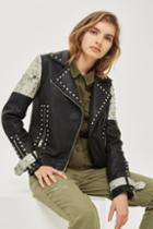 Topshop Studded Pu Biker Jacket