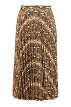 Topshop Snake Print Pu Pleated Skirt