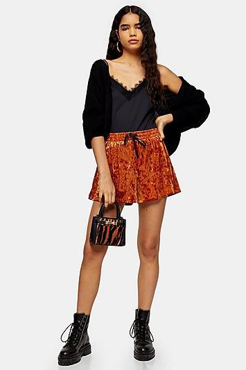 Topshop Black Velvet Shorts