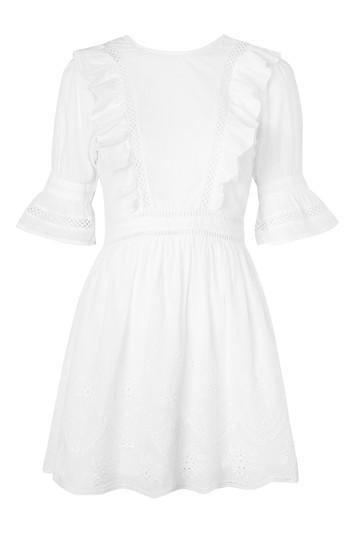 Topshop Broderie Ruffle Mini Dress