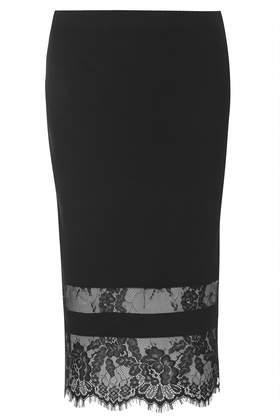 Topshop Lace Insert Bodycon Tube Skirt