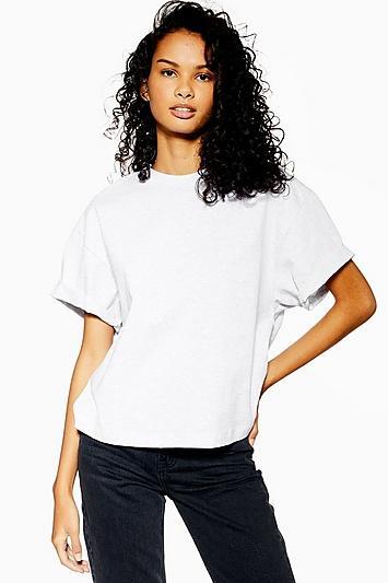 Topshop Petite Grey Boxy Roll T-shirt