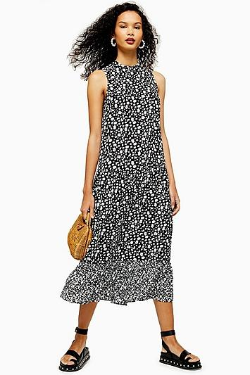 Topshop Black And White Floral Sleeveless Dress