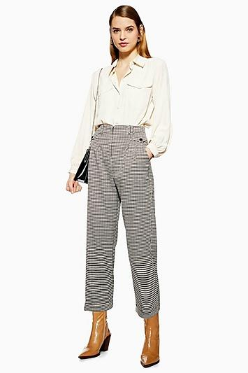 Topshop Houndstooth Check Peg Trousers