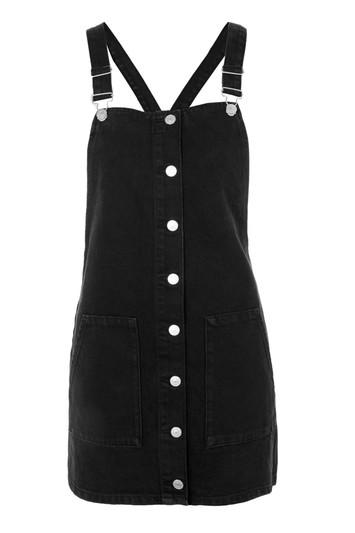 Topshop Petite Button Through Pinafore Dress