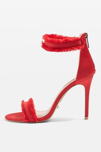 Topshop Riley Red Two Part Heel Sandals