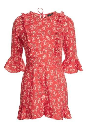 Topshop Floral Print Ruffle Playsuit
