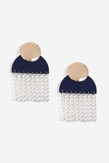 Topshop Shape And Pearl Drop Earrings