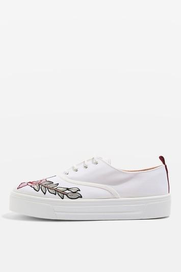 Topshop College Embroidered Flatforms