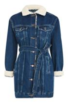 Topshop Moto Belted Denim Jacket