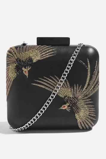 Topshop Leather Bird Boxy Clutch