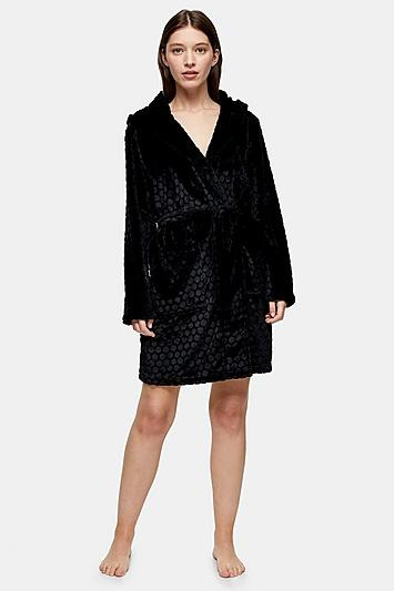 Topshop Black Spot Textured Dressing Gown