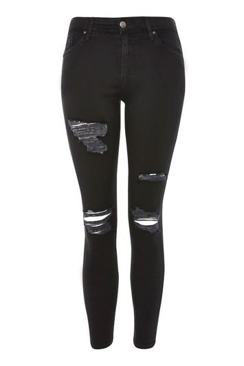 Topshop Petite Moto Black Leigh Jeans