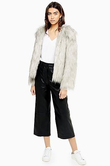 Topshop Grey Tipped Faux Fur Coat