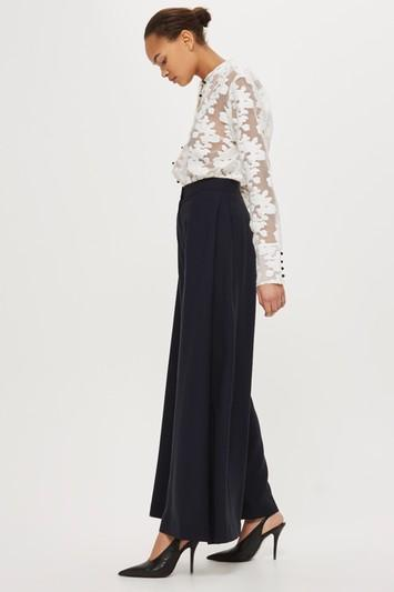 Topshop *wool Wide Leg Trousers By Boutique