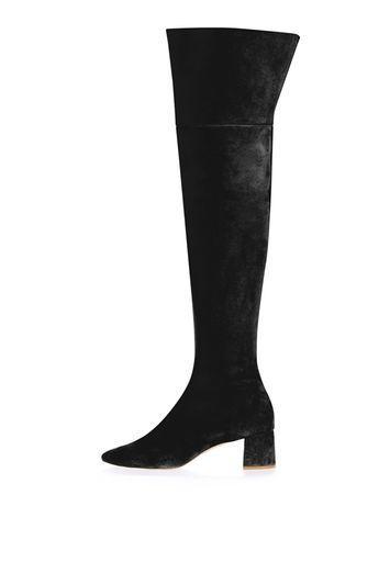 Topshop Caramel Suede High Leg Boots