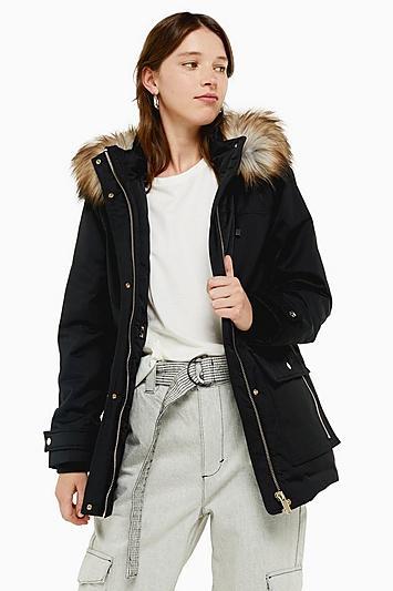 Topshop Black Hooded Parka Jacket